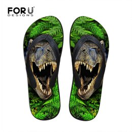 Wholesale Dinosaurs Shoes - Wholesale-New 2016 Flip Flops Men Summer Shoes Casual Dinosaur Printing Beach Flip Flops Massage Flats Outdoor Sandals Plus Size 39-44