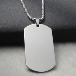 Wholesale military pendant for men - Wholesale Blank Engravable Stainless Steel Cat Dog Tag Military Shape Men Pendant for boys Free Shipping