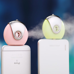 Wholesale Moisture Spray - Mobile Moisture Supplier Cell Phone Beauty Mist Spray Diffuser Portable Mobile Phone Filling Water Meter for iPhone IOS Android