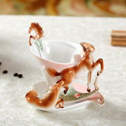 Wholesale European Tea Sets - Enamel Horse Coffee Mug Porcelain Tea Milk Cup Set Creative Ceramic Drinkware European Bone China Sets