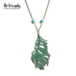Wholesale Teal Feather Wholesale - Wholesale-Artilady Verdigris Patina Teal Blue Feather Necklace Beaded Long Boho Pendant Necklace Women Jewelry