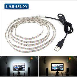 Wholesale 4m Led Strip - 5V 50CM 1M 2M 3M 4M 5M USB Cable Power LED strip light lamp 3528 Christmas Decor lamp tape For TV Background Lighting
