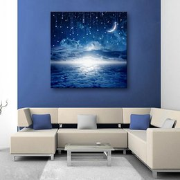 Wholesale Led Light Wall Decor - Led Canvas Moon Lighted Wall Art Decoration Canvas Painting Solid Wood Wall Paintings Bedroom Living Room Decor