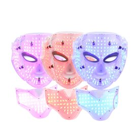 Wholesale Infrared Facial Massager - Photon LED Infrared Facial Neck Mask Skin Microcurrent Massager Rejuvenation Anti-Aging Beauty Therapy Home Use Free DHL Shipping