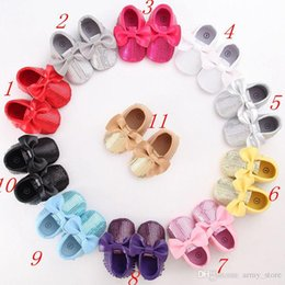 Wholesale Bling Bow Flats - DHL Fashion Red Sequins Baby Bow Moccasins Bling Bling Pu Leather Glitter Newbaby girls dress shoes toddler soft sole moccs fringe booties