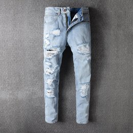 Wholesale American Cars Wash - Men Ripped Holes Jeans High Car Jeans Male Tide Holes Light Colour Wash Tide Card Self-cultivation Man Cowboy Trousers