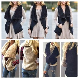 Wholesale Girls Fur Vests - women winter warm Vest Sherpa outwear irregularity Imitation Faux Fur Shearling Vest women winter warm Tank Tops Tank Tops KKA3605
