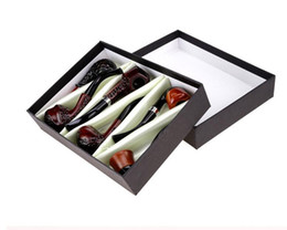 Wholesale smoke pipe gift set - Tobacco Cigarette Wood Color Smoking Pipes Metal Acrylic Material 6pcs Set Gift Packaging Pipes With smoking knife For Smoking 4 Types sale