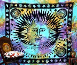 Tavolo dio online-Bohemia Sun God Moon Wall Hanging Arazzo 165X145CM Home Decoration Tapestryies Stampato Tovaglia tessuto Fashion Beach Towel Cover Up