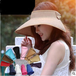 Wholesale Girls White Straw Hat - New Arrival Summer Sunshade Hat Womens Sunhats Can Roll Folding Straw Hat Beach Caps Ladies Wide Brim Sunshade Hats 20 pcs free shipping