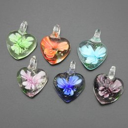Wholesale Murano Glass Hearts - Hot Selling 12pcs lot Charming Noctilucent Heart Lampwork Glass Pendants Flower Murano Glass Charms for Necklace Earrings MC29