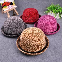 Wholesale Fashionable Winter Hats Men - Leopard Top Hat Autumn Winter Lady Belt Buckle Round Hat Imitation Mink Hair Fashionable Flanging Hat YYA460