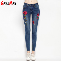Wholesale Elastic Skinny Jeans Women - Stretch Embroidered Jeans For Women Elastic Flower Jeans Female Pencil Denim Pants Rose Pattern Pantalon Femme GAREMAY 155