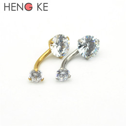 Wholesale Double Gem Belly Bar - 18K Gold Belly Bars Body Piercing Button Ring Crystal CZ Gem 316L Stainless Steel Clear AB Double Zircon Internally Threaded
