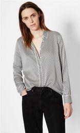 Wholesale White Silk Blouse Xs - EQ 100% silk 19momme rolloff five-pointed star print Ladies long sleeve blouses women silk shirt spring autumn kate moss