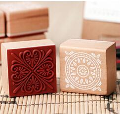 Wholesale New Lace Round Stamp - Wholesale- New sweet lace series wood round stamp 4*4CM square shape gift stamp 6 designs Scrapbook decoration JJ0052