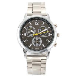 Wholesale Green Metal Watch - Fashion TST Women's men's 3 dials style metal steel band Quartz wrist watch
