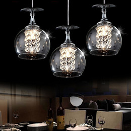 Wholesale Brown Chandelier Crystals - Modern Pendant Lamps LED Crystal Glass Ball Chandelier Light Creative Decoration Ball Pendant Lights 1 3 Heads Grey Brown Bar Tea Home Lamp