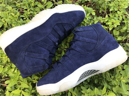 Wholesale Air Carbon - Air Retro 11 PRM JETER RE2PECT Blue Suede Basketball Shoes For Men Top Quality Limited Release 351792-147 Real Carbon Fiber With Box