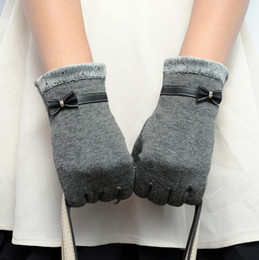 Wholesale Warm Cotton Gloves - Elegant Womens Gloves Screen Winter Warm Bow Soft Wrist Gloves Mittens Cashmere Full Finger guantes mujer 2017 Fashion