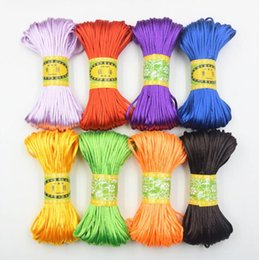 Wholesale Macrame Roll - 20 Meters roll 2.5mm Satin Nylon Cord Shamballa Bracelet Jewelry Craft DIY Rattail Beading Chinese Knot Macrame Braided Thread Color Choose