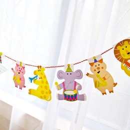 Wholesale Tiger Party Supplies - Wholesale- Birthday Buntings Christmas Party Decoration Lion Tiger Giraffe Animal Party Banner Event Party Supplies Nursery Decor