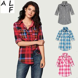 Wholesale Sexy Tops Longer - Best Quality Europe fashion sexy Long sleeve lattice blouses spring summer girl autumn plaid America women t shirts tops coat Plaid Blouses