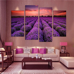 Wholesale Purple Art Canvas Large - 4 Piece Modern Wall Art Home Decoration Purple Lavender Large Living Room Painting Print Pictures On Canvas Prints Unframed