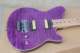 Wholesale Music Strings - Custom Edward Van Halen Wolf Music Man Ernie Ball Axis Trans Purple Flame Maple Top Electric Guitar Maple Neck Flyod Rose Tremolo Bridge