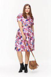 Wholesale Skirt Shirt Sets Women - Plus Size XXXL Women 2PC Skirt Set Fashion Lady Short Sleeve Flower Print Evening Party Gowns Skirt T shirt + Skirt Suit vestido