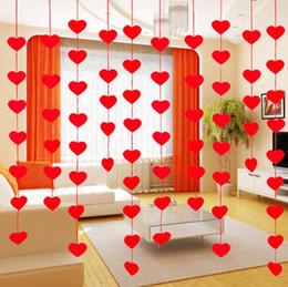2019 bandiera all'ingrosso della finestra Wholesale- 2 metro bandiera cuore rosso Pennant Tassel tenda della finestra della porta della camera divisore per il compleanno decorazione della festa nuziale sfondo favore Wh bandiera all'ingrosso della finestra economici
