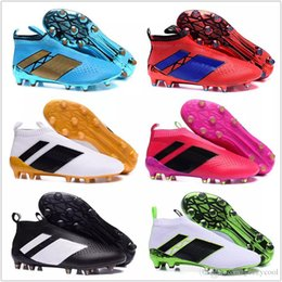 Wholesale Hot Men Sock Soccer - 2017 Discount Cheap Football Shoes ACE 16+ PureControl FG Soccer Shoes Men Soccer Cleats Top Quality Hot Sale Socks Shoes Size 6.5-11.5