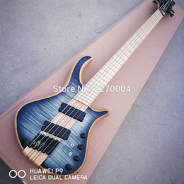 Wholesale Neck Through Body Bass Guitar - Custom Shop Mayones 5 Strings Trans Black Flame Maple Top Electric Bass Guitar Maple Neck Through Body Fanned Frets Black Hardware