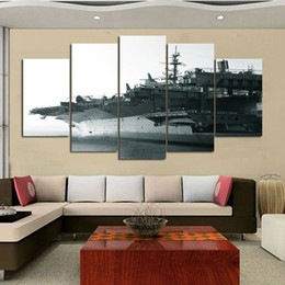 Wholesale Canvas Painting Aircraft - 5 Panel unframed aircraft carrier Paintings Unframed Canvas print Wall Art Picture Home decor Living room Wall Poster