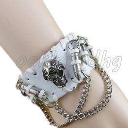 Wholesale European Bracelet Supplies - Manufacturers supply new European and American personality belt bracelet leather alloy skull bracelet wholesale