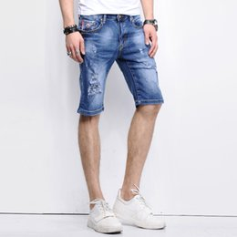Wholesale Shorts Destroy - Wholesale-2016 LetsKeep New men destroyed denim shorts summer distressed jeans pants men fitness hip hop strech jean slim homme,MA147