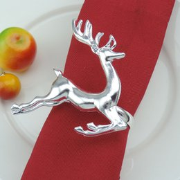 Wholesale Hotel Christmas Party Table Decoration - Christmas Deer Napkin Rings Silver Gold Alloy Napkin Buckle Holder Hotel Wedding Party Table Decoration ZA5039