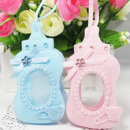 Wholesale Candy Bags Baby Shower - New Arrival 24 PCS Non-woven Fabrics Blue Pink Bottle Style Gift Bags Candy Box with Sling for Guest Baby Shower Birthday Party Decor
