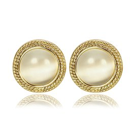 Wholesale Yellow Stone Stud Earrings - High Quality Classic 18K Yellow Gold Plated Round Opal Stone Stud Earrings Jewelry for Women Cat's Eye Stone Stud Earrings Beautiful Gift