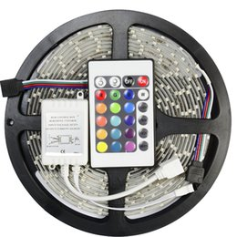 Wholesale 24 Ac Power - 5m 3528 SMD RGB led strip Flexible 60LED Meter waterproof+24 key IR Controller+2A Power supply US EU UK UA plug for Christmas holiday party