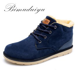 Wholesale Light Blue Suede Boots - Wholesale-BIMUDUIYU Brand Cheap Keep Warm Men Winter Ankle Boots Light  Comfortable Fluff And Cotton Shoes Fahsion Casual Essential Boots