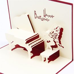 Wholesale Handmade Origami Greeting Cards - Red & Blue Handmade 3D Pop UP Card Kirigami & Origami Foldable Birthday Greeting Cards with Piano Angel 10pcs lot