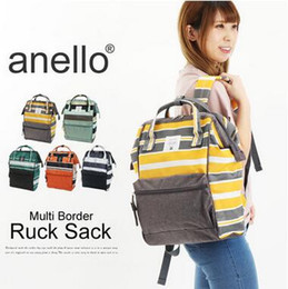 Wholesale Yellow Backpack Canvas - 5 Colors New ANELLO Japan Stripe Handle Backpack Campus Rucksack Canvas School Bag Unisex Outdoor Travel Backpack CCA6630 15pcs