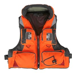 Wholesale Adult Life Vests - Adult Polyester Swimming Life Jacket Professional Life Vest For Drifting Boating Survival Fishing Safety Jacket Water Sport Wear