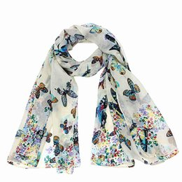 Wholesale Chiffon Neck Scarves - Brand-Sciarpe Echarpe Femme Lady Chiffon Butterfly Print Neck Shawl Scarf New Fashion Woman Scarves Wrap Stole