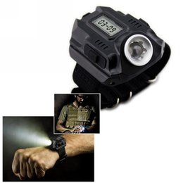 Wholesale Led Watch New Models - New Portable CREE XPE Q5 R2 LED Wrist Watch Flashlight Torch Light USB Charging Wrist Model Tactical Rechargeable Flashlight