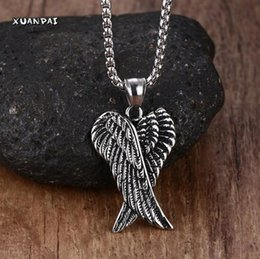 Wholesale Mens Jewelry Wings - Angel Wings necklace Stainless Steel Gothic Vintage Double Angel Wings Pendant Collier Kolye Mens Fashion Biker Jewelry 24""