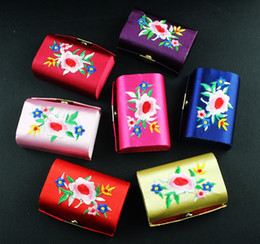 Wholesale Silk Mirrors - Empty Embroidered Double Lipstick Tubes Mirror Small Favor Box Storage Case Chinese Silk Brocade Craft Lip Balm Packaging Containers 12pcs