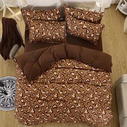 Wholesale Cotton Leopard Print Queen Bedding - Wholesale-Winter bedding set super king size duvet cover leopard bedding 3 4pcs bed set V pattern bed linen flat sheet Adult bed set 5size