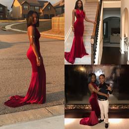 Wholesale Girls Velvet Gown - 2017 New Halter V Neck Dark Red Velvet Mermaid Prom Dresses Sexy Backless Sleeveless Dresses Evening Gowns African Girls Party Wear